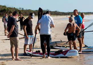 Rees training people on beach